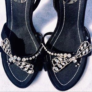 Black Suede Rhinestone Dragonfly Slingback Heels